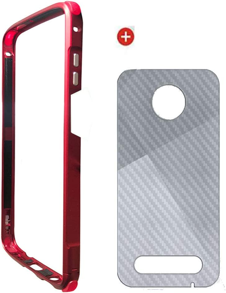 Moto Z3/Z3 Play Bumper Case Moto Mods Compatible,Aluminum Metal Bumper Airbag Heavy Duty Shockproof with Back Film (Red)