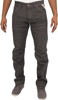 ENZO Mens Straight Leg Classic Grey Wash Denim Jeans Pants