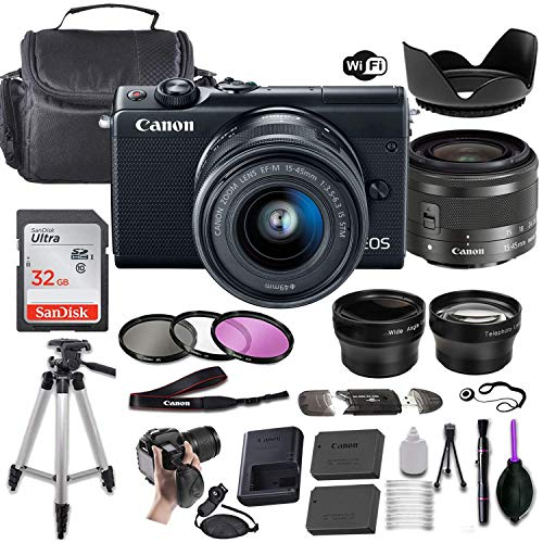 Canon EOS M100 Mirrorless Digital Camera (Black) w/EF-M 15-45mm f/3.5-6.3 is STM + Wide-Angle and Telephoto Lenses + Portable Tripod + Memory Card + Deluxe Accessory Bundle (Renewed)