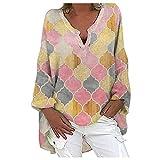LIUYONG Blusa de túnica casual con cuello en V de manga larga para mujer, con estampado a cuadros, para otoño, talla grande