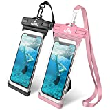Universal Waterproof Case, LKJ Waterproof Phone Pouch Dry Bag Compatible with iPhone Xs/XR/XS Max/8/7/7 Plus/6S/6/6S Plus, Samsung Galaxy S9/S9 Plus/S8/S8 Plus/Note 8 6 5 4,HTC-[2 Pack] (Black&Pink)