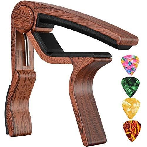Guitar Capo for Acoustic Electric Bass Guitars or Ukulele RoseWood Trigger Capo Guitar Clamp Guitar Clip