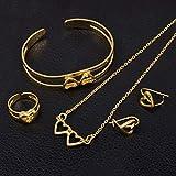 SWAOOS Heart Child Jewelry Sets Gold Color Collar/Pendientes/Anillo/Brazalete para Niños Etíopes Africanos Los Árabes Regalo