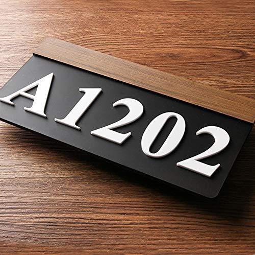 AGiao Modern House Number Appartement Sur mesure Villa Placas de Porte toutes Les Lettres symboles Maison Numero de Placa Signe Porte numéro Simple (Hauteur : 9cm, Largeur : 18cm)