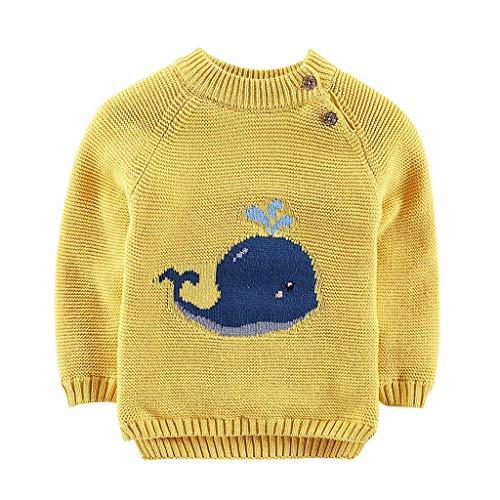 Xiangdanful Kinderkleidung Strickjacke Sweatshirt Herbst Winter Sweater Baby Mädchen Jungen Cardigan Knit Langarmshirt Unisex Kinder Cartoon Wal Tops Kleinkind Baby Bekleidung (70, Gelb)