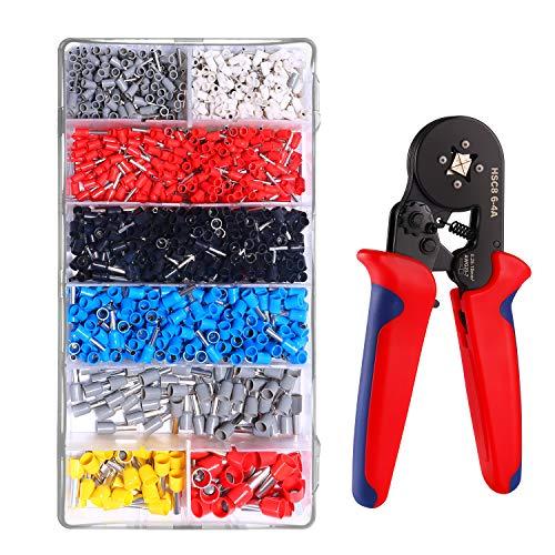 圧着ペンチセット KINGTOP フェルール圧着工具 0.25-10mm²調整可能 1200 PCS DIYペンチ エンドスリーブ フェルール端子付き