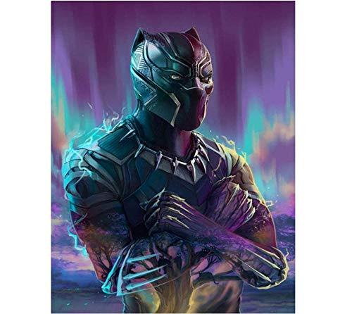 Kit de Pintura 5D de Diamantes Marvel Black Panther Punto de Cruz Diamante Adorno Con Cristales de Imitación de Diamante para decoración de Pared 11x15inch(30x40cm)