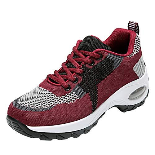 HDUFGJ Sneaker Damen Leichte Atmungsaktiv Weicher Boden Laufschuhe Sportschuhe für Sports Trekking Gym Walkingschuhe Luftpolster Sportschuhe Freizeitschuhe Straßenlaufschuhe Outdoorrot(40)