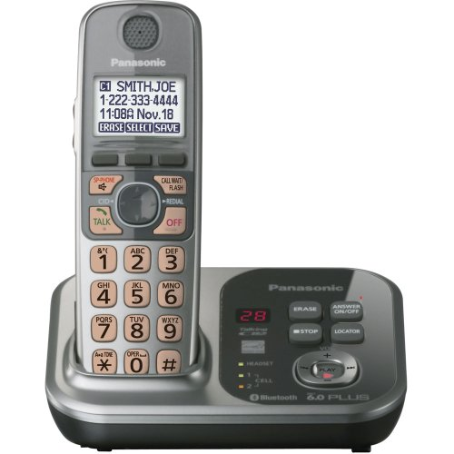 Panasonic KX-TG7731S DECT 6.0 Link-to-Cell via Bluetooth Cordless Phone with Answering System, Silver, 1 Handset