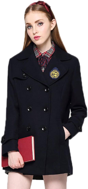 Etongenius Navy bluee Double Breasted Lapel Winter Wool Blend Coat Parka Outwear Trench Jacket Windbreaker for Women Girls