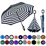 MRTLLOA Double Layer Inverted Umbrella with C-Shaped Handle, Anti-UV Waterproof Windproof Straight Umbrella for Car Rain Outdoor Use(Blue Strip)