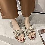 ypyrhh Basse con Lacci Sandali da Spiaggia,Fuori dalle Scarpe Piatte,Sandali Casual Perla-Rosa_38,Leggere Casuale Sandali
