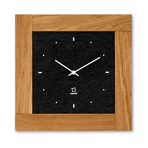 Natuhr Holz, Filz Wanduhr Stube Holzuhr Eiche Massivholz - geräuscharm, leises Junghans Uhrwerk (schwarz)