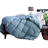 SNOWMAN King Duvet Insert Blue 600TC 800FP 100% Egyptian Cotton Cover White Goose Down Comforters Duvet White Down Comforter Lightweight All Season (King(10690), Blue)