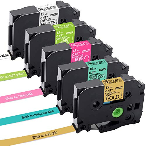 Aken kompatibel Schriftband als Ersatz für Brother TZe-231 TZ Tape Cassette 12mm, laminated Schriftband für Brother P-touch H105 1010 H100R E110 D200 1000 D400, 5er-Packung