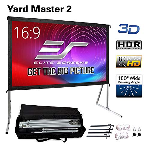 Elite Screens Yard Master 2, 100 inch Outdoor Projector Screen with Stand 16:9, 8K 4K Ultra HD 3D Fast Folding Portable Movie Theater Cinema 100'...
