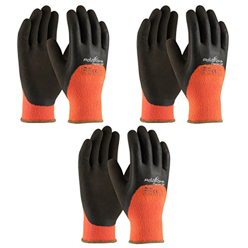 3 Pack Powergrab 41-1475 3/4 Dipped Thermal Hi-Vis Orange/Black Cold Condition Work Gloves, Sizes S-XXL (Medium)