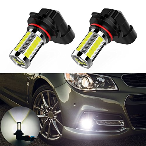 2PCS 1500 Lumens Super Bright H10 9145 9140 9045 9040 LED Fog Light Bulbs with Projector for Fog or DRL Light, 33 SMD Bright White 6000k