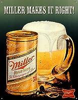 Millerは、レトロなビンテージティンサインをマグカップでビール