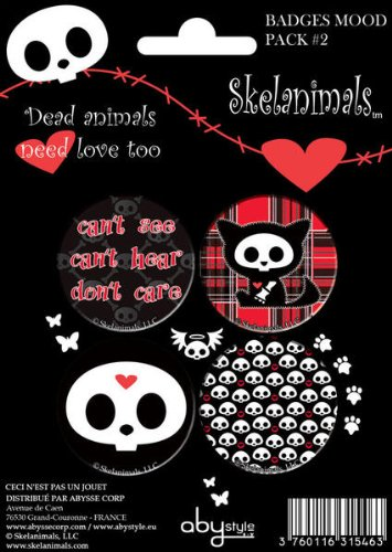 ABYstyle - ABYACC033 - Loisir Créatif - Skelanimals - Pack de 4 Badges - Mood Pack - 2 X5