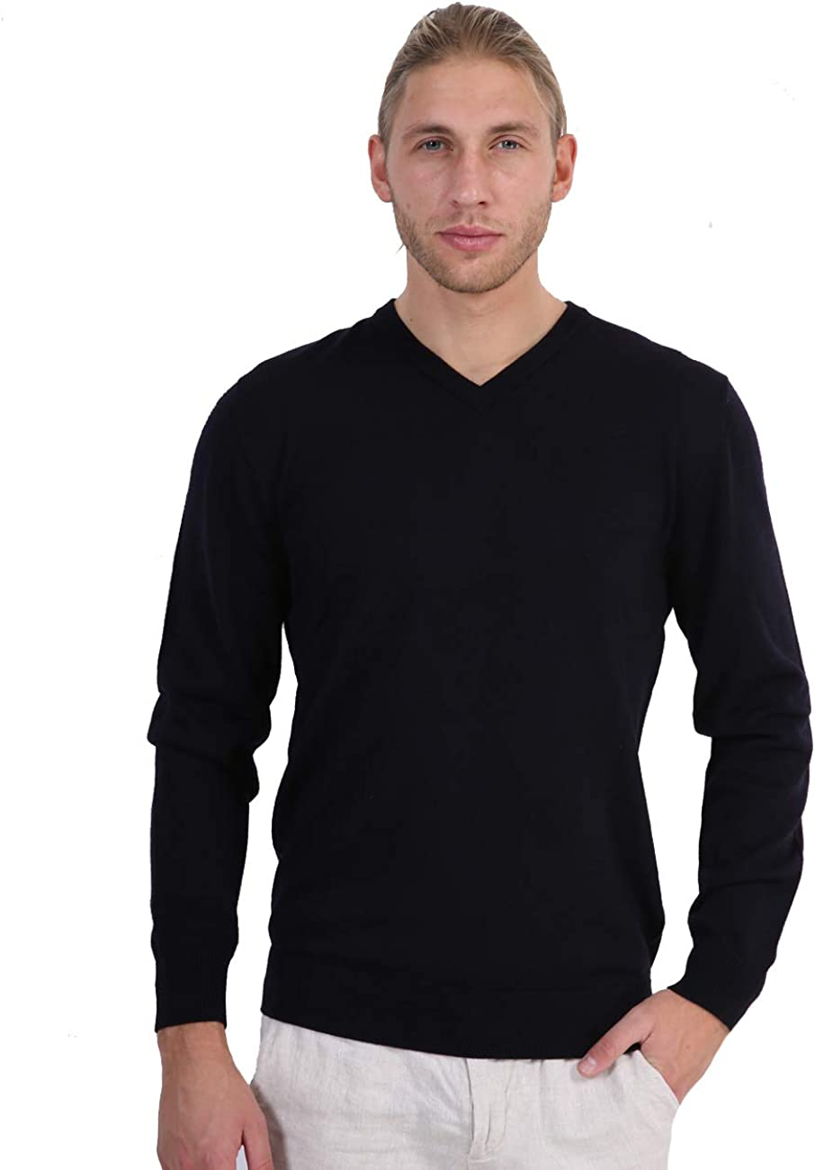 R.PRINCE Men's V-Neck Wool Shirt Lightweight Pullover-Sweater Slim Fit Knitted Long Sleeve Pullover for Men
