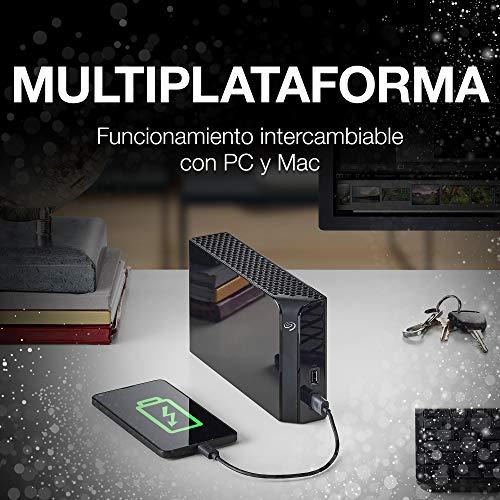 Seagate Backup Plus Hub, 8TB, Disco duro externo HDD, USB 3.0 para ordenador de sobremesa, estación de trabajo, PC y Mac, 2 puertos USB, 2 meses de suscripción a Adobe CC Photography (STEL8000200)