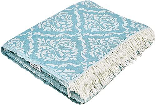 Carenesse Tagesdecke BAROCK Petrol 150 x 200 cm, 100% Baumwolle, leichte dünne beidseitig schöne Decke mit kurzen Fransen, Überwurf für Bett Sofa und Couch, Tischdecke, Dekodecke