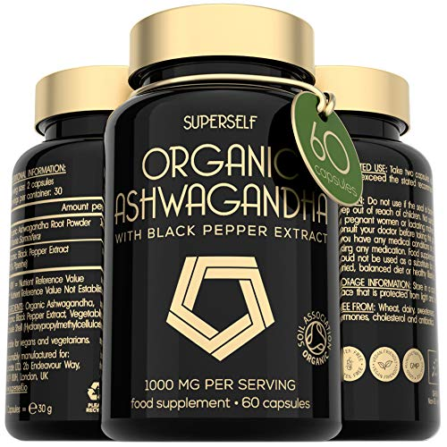 Organic Ashwagandha Capsules - 1000mg Ashwanghanda Root Powder per Serving - 60 Vegan Ashwaganda Tablets with Black Pepper Extract - High Strength Natural Supplement - Certified by Soil Association