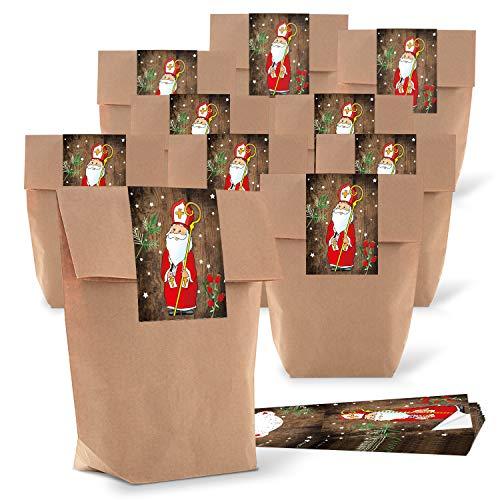 25 kleine Papiertüten braun natur 16,5 x 26 x 6,6 cm + 25 Aufkleber HEILIGER NIKOLAUS SANTA rot weiß beschriftbar Weihnachten Geschenk Verpackung Kraftpapier weihnachtlich vintage Be-Füllen