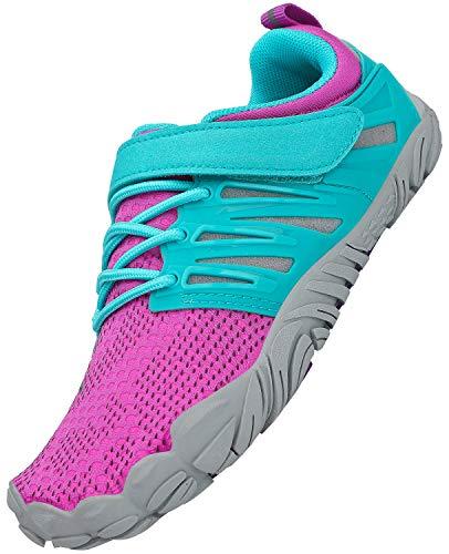 SAGUARO Unisex niños Barefoot Zapatos Niñas Minimalistas Zapatillas Antideslizante Zapatillas de Deporte Zapatos de Natación Trotar Surf Yoga, Rojo 25