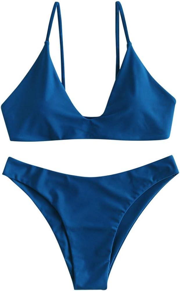 Zaful - costume da bagno da donna due pezzi con reggiseno imbottito in nylon e spandex blu