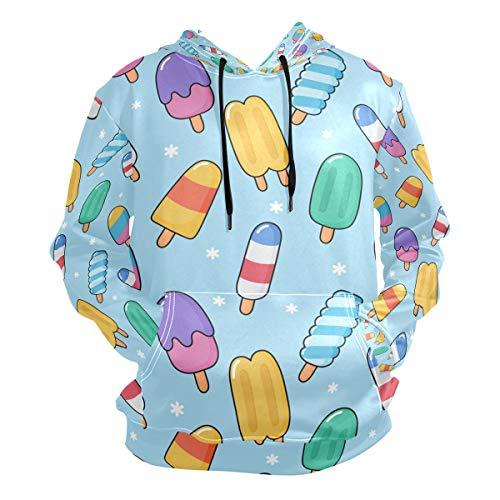 FVFV Süßes Kawai EIS Kapuzenpullover Hoodie Herren 3D Druck Sweatshirt Pullover Kapuzenjacke für Mädchen Jungen Männer