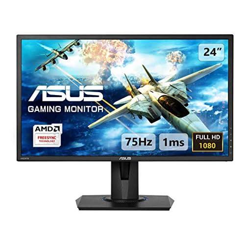 ASUS VG245H 24'' FHD (1920 x 1080) Gaming Monitor per PC, 1 ms, 75 Hz, HDMI, D-Sub, Super Narrow Bezel, FreeSync via HDMI, Filtro Luce Blu, Flicker Free