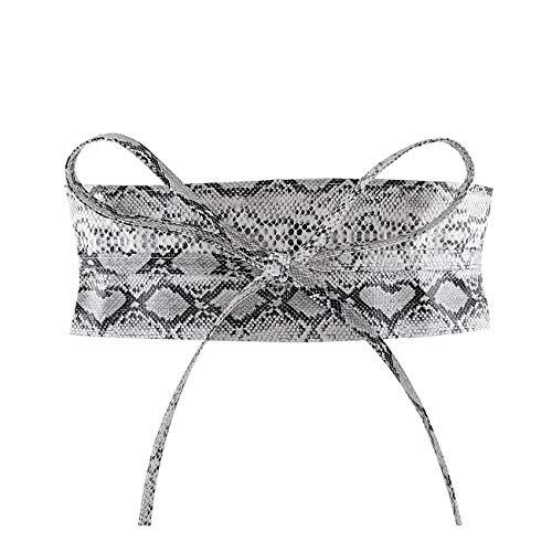 Ayliss Women Soft Leather Obi Belt Self Tie Wrap Cinch Belt (Lace up fit waist unlimited, Snakeskin #2) Maryland
