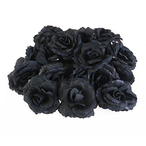Ultnice Rose Seidenrosen in schwarzer Farbe zum Basteln (50 Stk.)