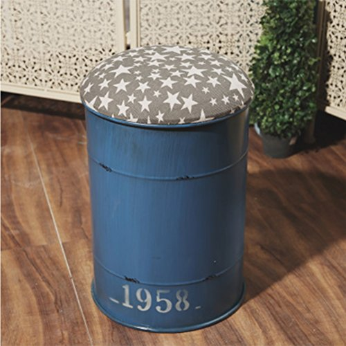 Industrial Style Red Round Iron Art Krukken Creative Emmertje Sitting Barkruk Multifunctionele Sofa Kruk for Kitchen 408 (Color : Blue)