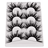 Pleell 25MM Lashes Mink Fluffy Wispy False Eyelashes Pack 3D Dramatic Long Volume Eyelashes 4 Pairs