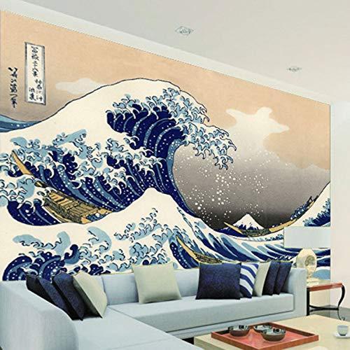 Carta da parati in stile giapponese Ukiyo-e carta da parati carta da parati retrò onda di mare arte murale camera da letto corridoio decorazione TV sfondo muro/dimensioni:280X200cm