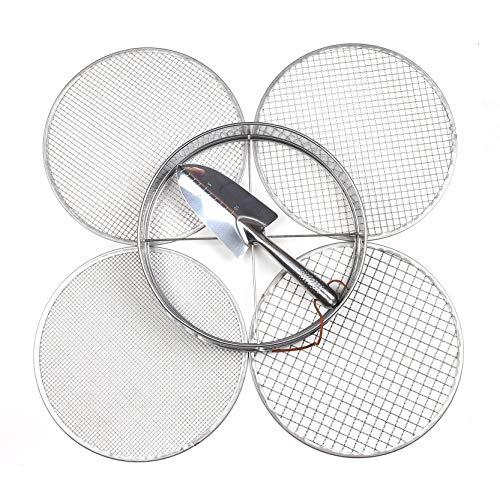 Practicool Gartensieb, Mix, Edelstahl, Sieb mit 4 austauschbaren Filtermaschen 3,6,9,12 mm und Bonusspaten