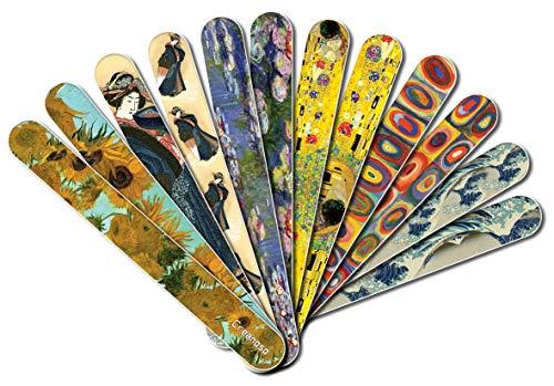Creanoso Jolis Peintures Nail soins Conseil Emery (12-Pack) - Pour Manucure - ongles et des pieds - Van Gogh Klimt Hokusai Monet Vintage Nostalgie de bas de Noël cadeau pour les femmes fille