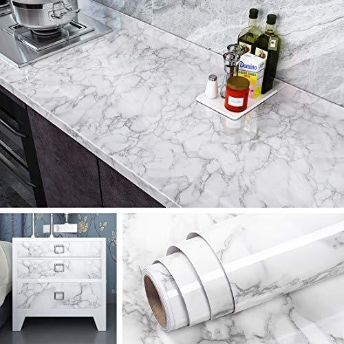Livelynine Carta Adesiva Marmo Grigio Granito Pellicola Adesiva per Mobili Bagno Carta da Parati Lavabile Rivestimento Mobili Adesivo Adesivi per Top Cucina Piano Lavoro Autoadesiva 40CMx2M