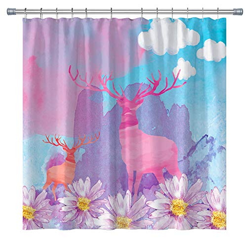 Antlers Silhouette Hipster Fashion Creative Fun Animal Shower Curtain,Cool Hipster Fashion Creative Fun Animal Shower Curtain,Bathroom Shower Curtain Set Hooks Included,71X71 in (colorful10)