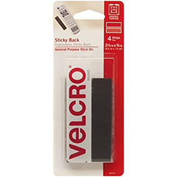 VELCRO Brand Sticky Back Strips with Adhesive | 4 Count | Black 3 1/2 x 3/4 In | Hook and Loop Fasteners for Home Organization, Classroom or Office