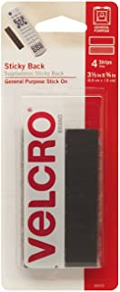 VELCRO Brand - Sticky Back Hook and Loop Fasteners | Perfect for Home or Office | General Purpose Peel & Stick | 3 1/2in x 3/4in Strips | Pack of 4 | Black