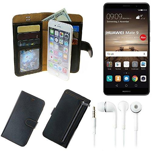 TOP SET Für Huawei Mate 9 (Dual-SIM) Portemonnaie Schutz Hülle Schwarz Aus Kunstleder + Kopfhörer Walletcase Smartphone Tasche Für Huawei Mate 9 (Dual-SIM) Vollwertige Geldbörse Mit Handyschutz