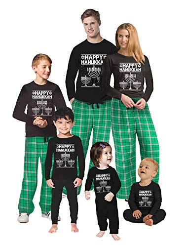Awkward Styles Family Christmas Pajamas Set Green Hanukkah Candle Matching Sleepwear Toddler PJ Set 4T