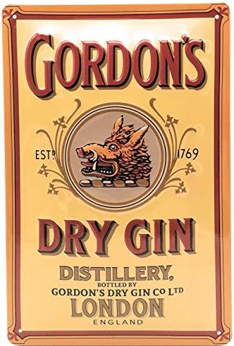 Mehr Relief-Schilder hier... GORDONS Dry Gin Retro Werbung Bar Blechschild Alkohol Reklame-Marke-Schild-Magnet-Metallschild-Werbeschild-Wandschild
