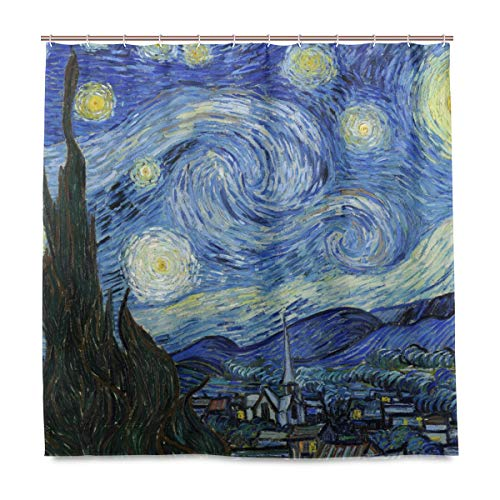 BIGJOKE Duschvorhang, Van Gogh Sternennacht Kunst schimmelresistent, wasserdicht, Polyester Stoff Badezimmer Vorhang 12 Haken 182,9 x 182,9 cm Home Decor