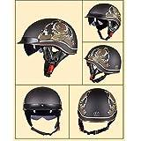 ACEMIC Vintage Harley Helmet Motorcycle, Half Helmet Motorcycle Old School Helmets,Carbon Fiber Motorbike Helmet Retro Half Open Face Motorcycle Helmet with Hidden Sunglasses, Unisex