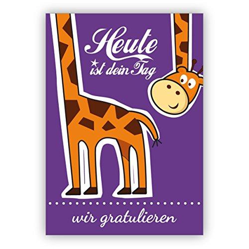 5 stuks verjaardagen wenskaarten grappige wenskaart/verjaardagskaart met giraf niet alleen voor kinderen: Vandaag is jouw dag - wij feliciteren